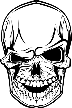 Vinyl Decal Sticker MEAN SKULL HQ 5x7 ANY COLOR!