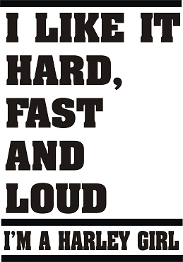 Funny Harley Girl Vinyl Decal Sticker LOUD HARD FAST HQ 5x7 ANY COLOR!