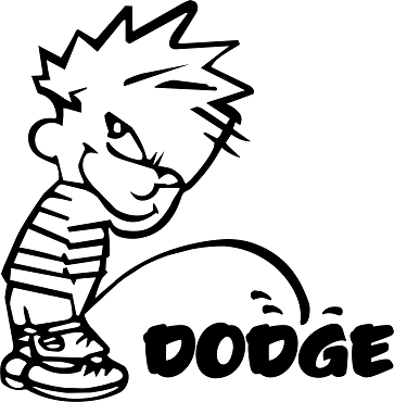 Funny Calvin Vinyl Decal Sticker DODGE HQ 5x7 ANY COLOR!